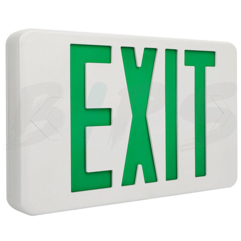 LED Emergency Exit Sign Light Emergency Battery Back-up Green Letter 120-277V