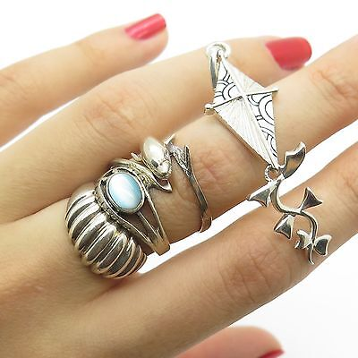 925 Sterling Silver Unique Assorted Set Of 3 Rings And Kite Pendant