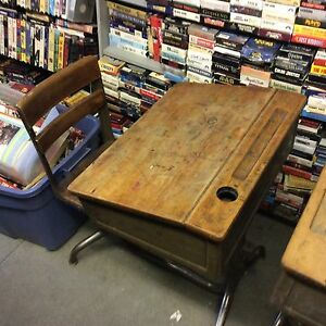Vintage Wooden School Desk Ebay