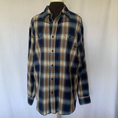billabong mens flannel plaid button down long sleeve XL Brown/ Blue shirt.