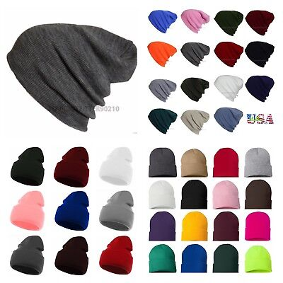 a3dae286a Men Women Knit Plain Beanie Cap Ski Hat Solid Casual Winter Hats Hip Hop  Caps