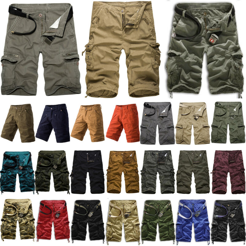 Mens Cargo Shorts Military Army Combat Camo Pants Summer Cas