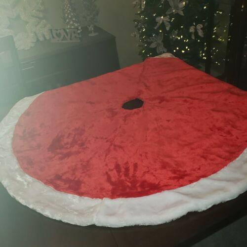 "Thick Plush 48""  Christmas Tree Skirt Red White Satin Lining"