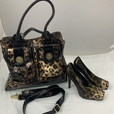 Next Leopard Print Matching Bag & Shoes Square Toe Heels Court Shoes UK 6