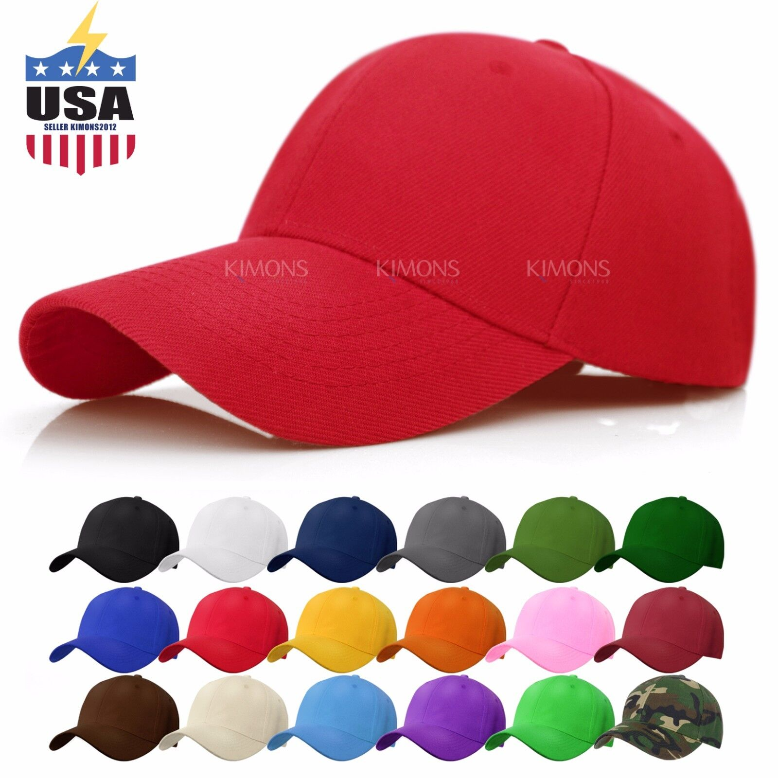 Loop Plain Baseball Cap Solid Color Blank Curved Visor Hat Adjustable Army Mens
