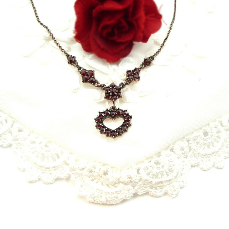 Lovely Original Bohemian heart garnet necklace 210817i  ГРАНАТ