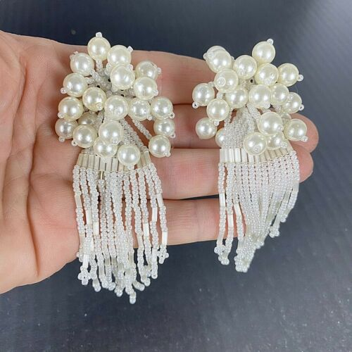 "Vintage Clip On Earrings Statement Faux Pearl Seed Bead Tassel Cluster 5"" Long"