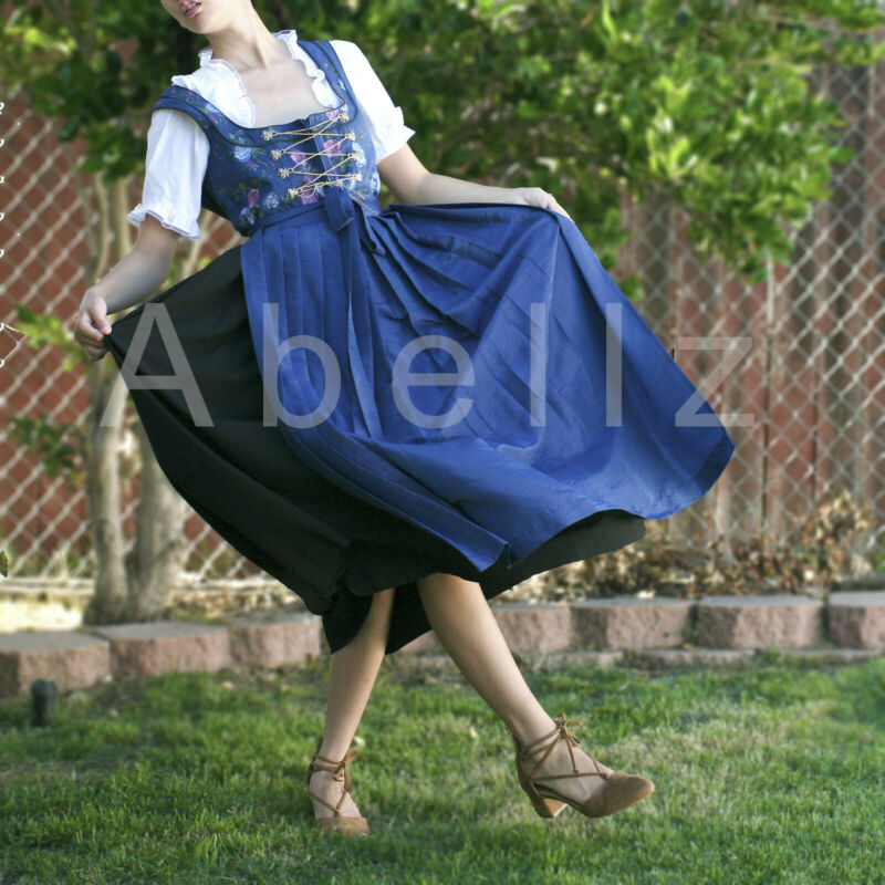 Blue and Black Rose Dirndl Aus Bayern DRESS 42 w/ Blue apron embroidered flower