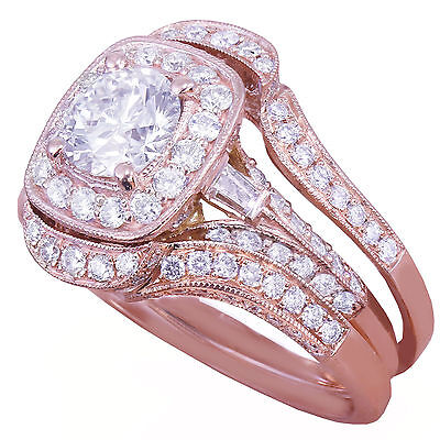 GIA H-VS2 14k Rose Gold Round Cut Diamond Engagement Ring And Bands 2.70ctw 5