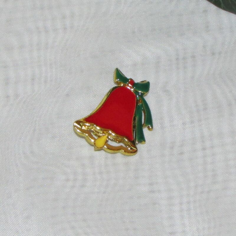 CHRISTMAS BROOCH RED BELL ENAMELED HOLIDAY PIN COSTUME JEWELERY NICE FESTIVEGIFT