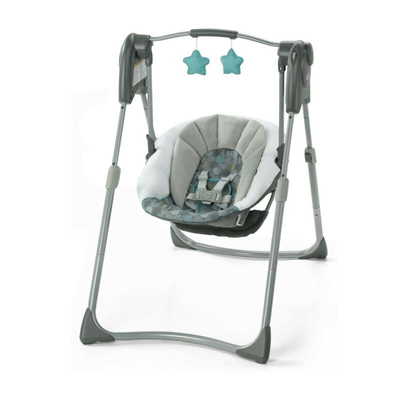 Graco Slim Spaces Compact Baby Swing, gray and teal unisex swing TILDEN EDITION