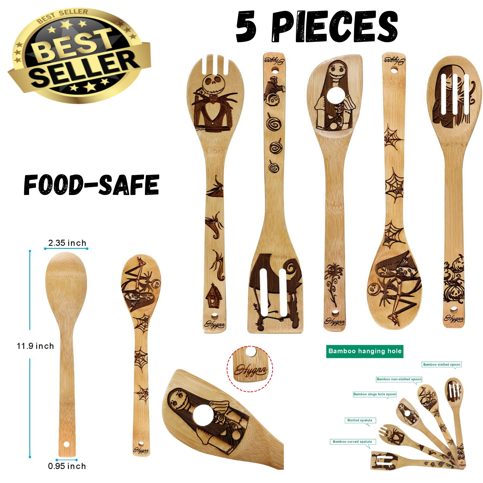 Kitchen Slotted Spoon Nightmare Before Christmas Bamboo Cook