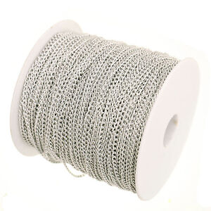 5/100m Curb Aluminum Open Link Chain Lot For Bracelet Necklace 0.7x4x2.5mm