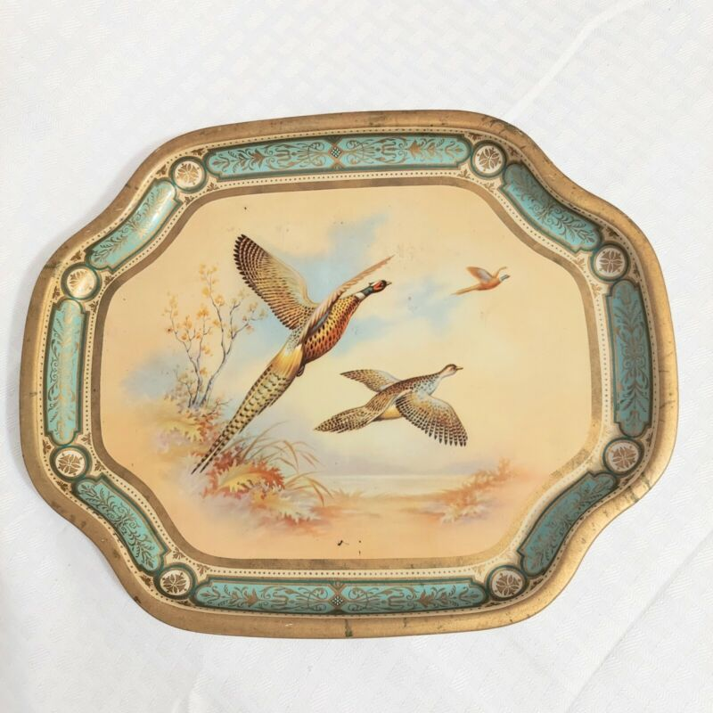 Barot Ware Pheasant Snack Tray Vintage Metal Made In England see pics for wear