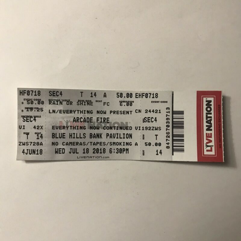 Arcade Fire Blue Hills Bank Pavilion Everything Now Concert Ticket Stub Jul 2018