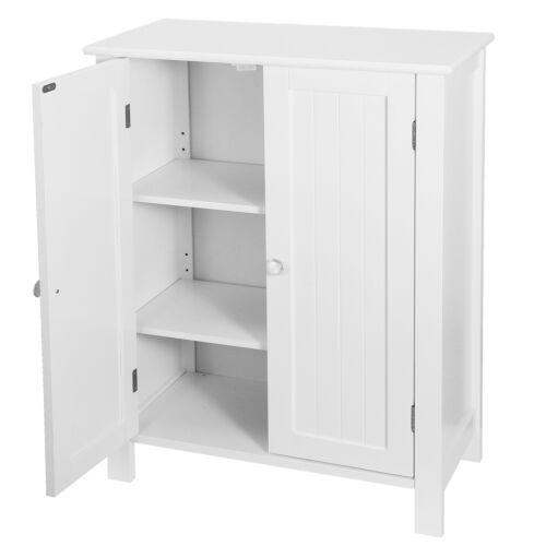Bathroom Floor Storage Cabinet with Double Door Adjustable Shelf Cupboard White Bath