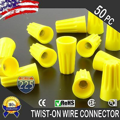 50 Yellow Twist-on Wire Gard Connector Conical Nuts 18-12 Gauge Barrel Screw