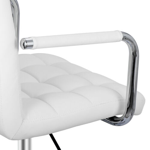 White Desk Chairs w/ Wheels/Armrests Modern PU Midback Adjustable on Wheels 360° Business & Industrial