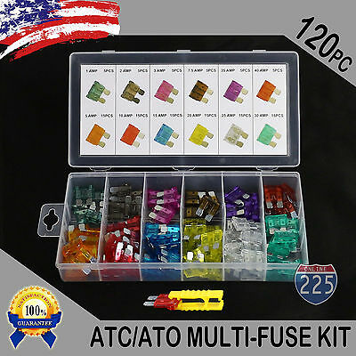 - 120 Pack ATC ATO APR ATS Blade Fuse Assortment Auto Car Motorcycle SUV FUSES Kit
