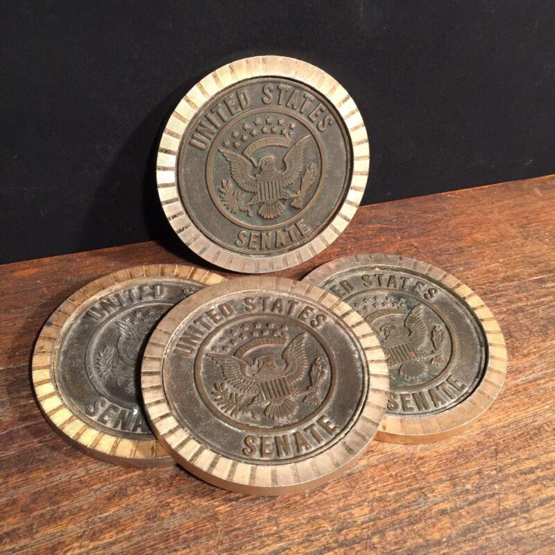 Vintage United States Senate Coasters Lot (4) Metal Republican Orrin Hatch Utah
