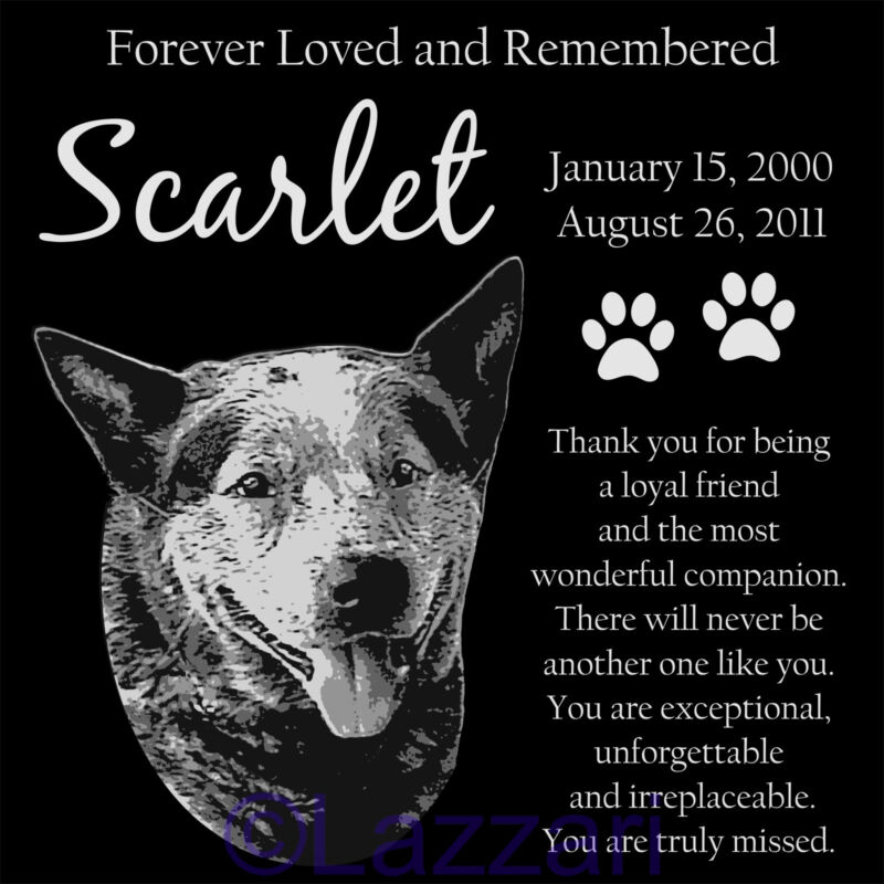 Personalized Australian Cattle Dog Red Blue Heeler Pet Memorial 12x12 Headstone