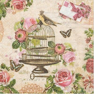 4x Paper Napkins -Bird on vintage cage- for Party, Decoupage Decopatch Craft