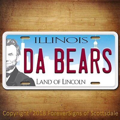 Chicago BEARS DA BEARS Aluminum License Plate Tag - New Style NFL  ()
