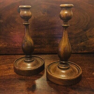 PRETTY Turned Pair Antique Art Nouveau Arts & Crafts Oak Wood Candlesticks 21cm