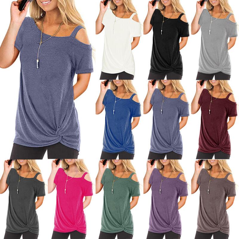 Damen Kurzarmshirt Longshirt Oberteile Bluse T-shirt Kalte Schulter Tops Sommer