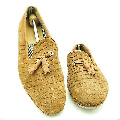 House Of Hounds Suede Croc Print Tassel Loafer Tan Size 43 EU 10 US
