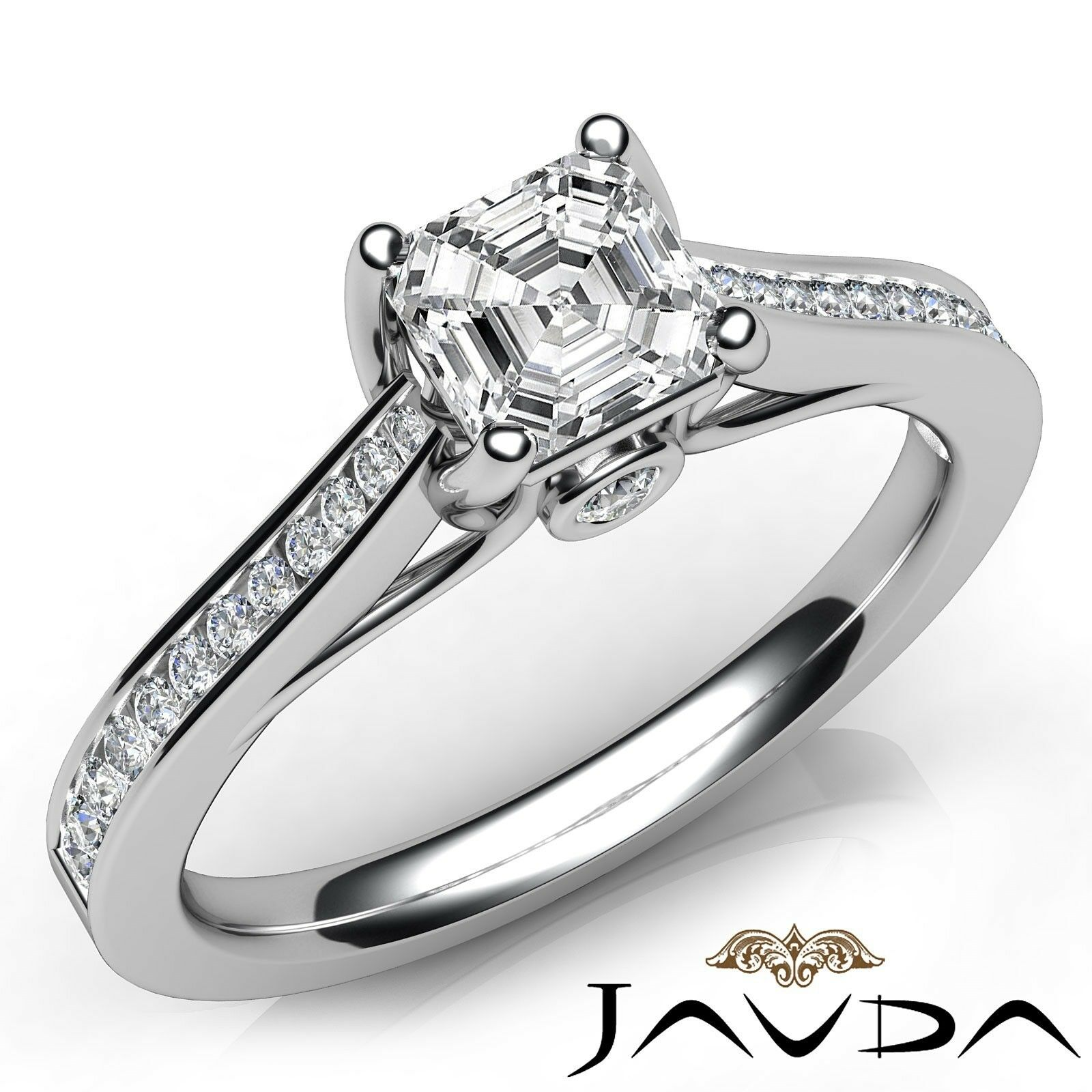 1ctw Tapered Pave Asscher Diamond Engagement Ring GIA F-VS2 White Gold Women New