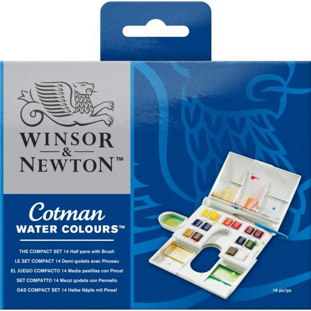 Winsor & Newton Cotman Watercolour The Compact Set -14 Colour Half Pans & Brush