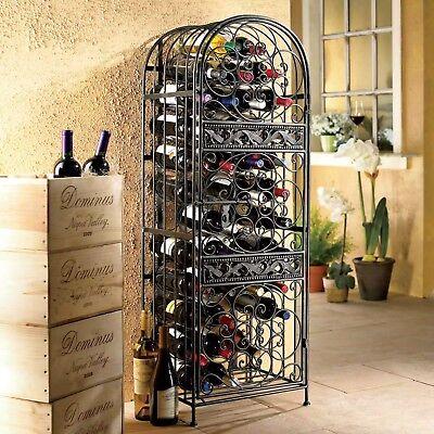 NEW Luxury Antique Bronze Metal Wrought Iron Wine Bottle Jail Cabinet Slide Door Wrought Iron Wine Cabinets