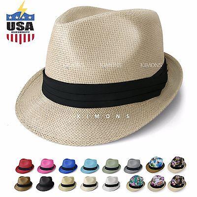 Straw Fedora Hat Trilby Cuban Cap Summer Beach Sun Panama Short Brim - Straw Sun Hats