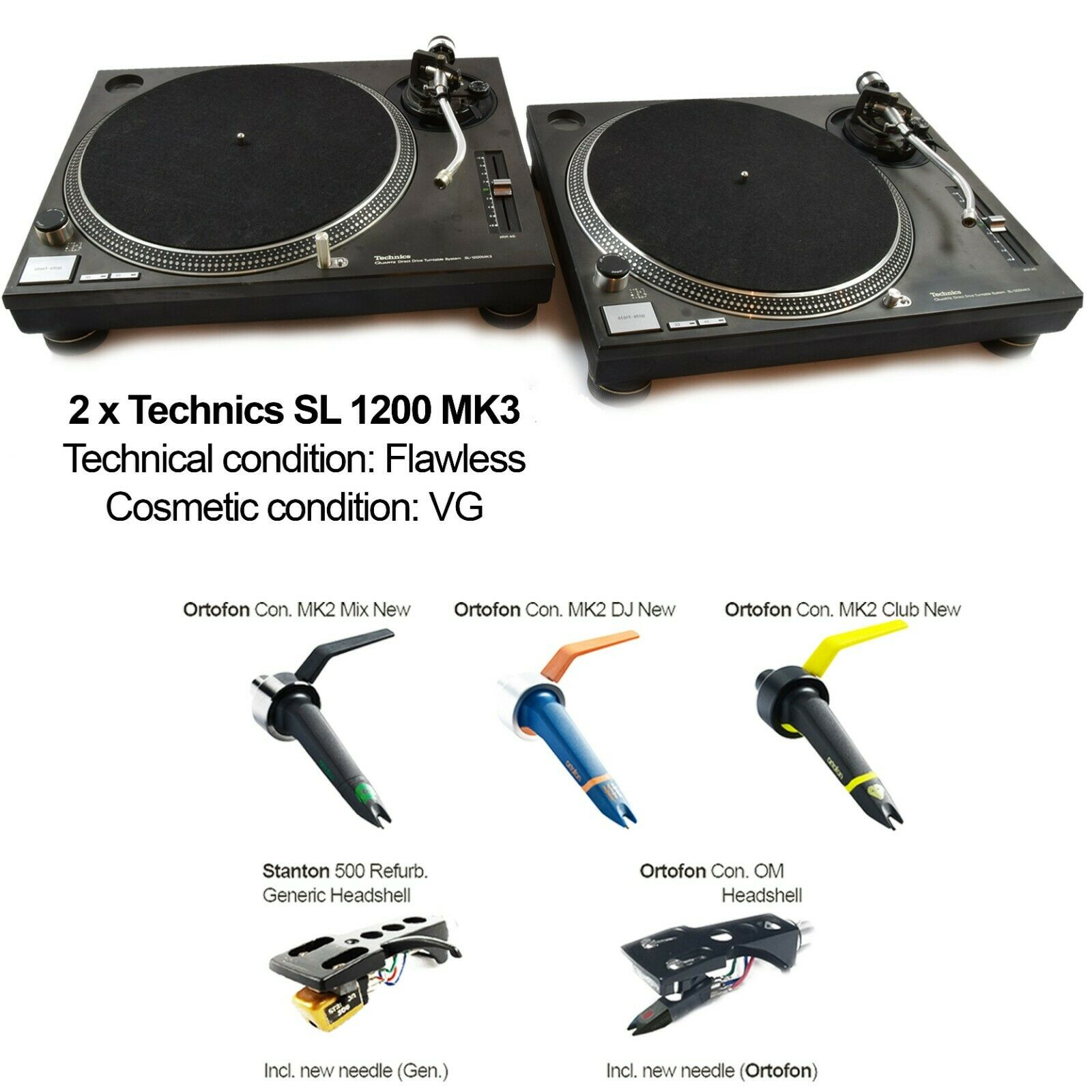 Technics Twinset 2x 1200 MK3 Starter Pack Incl. System Cartridge MK2 1210