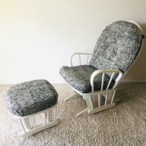 Dutailier White and Black Mother & Baby Glider Chair