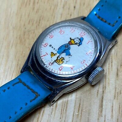 Vintage US Time Disney Donald Duck Lady Leather Hand-Wind Mechanical Watch Hours