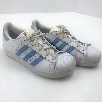 Adidas Superstars Girls Sz 3 Tennis Shoes Trainers Blue Stripes Trefoil
