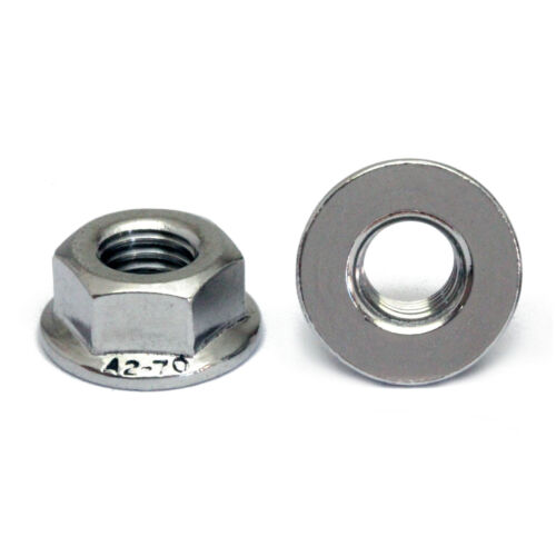 M6-1.0 Metric Stainless Steel Hex Flange Nuts, DIN 6923 A2-70 / 18-8 Grade