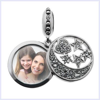 Crystal Star Charm Bracelet - Sterling Silver Photo Moon Star Crystal Dangle Customize Bead for Charm Bracelet