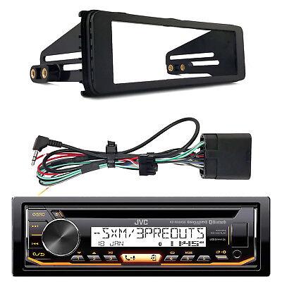 Fits Mp3 - JVC Marine Bluetooth CD MP3 USB Radio, Harley 1-DIN Stereo Kit Fits 1998-2013