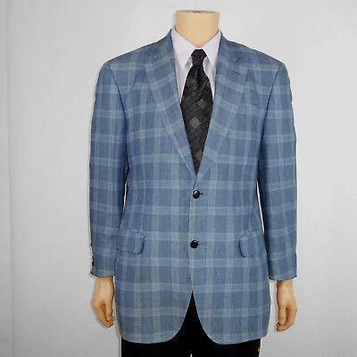 Luigi Bianchi Mantova LBM Sport Coat Blazer Blue Plaid Bamboo Flax Linen Sz 40 R