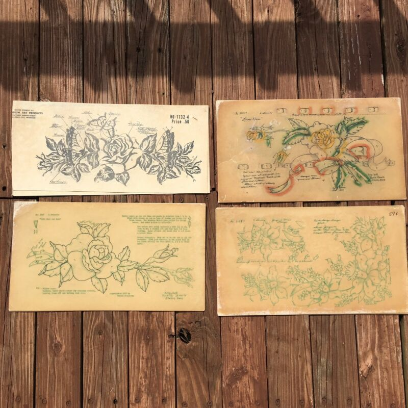 Lot of 4 VTG Textile Fabric Stencil Sets Polly Dell Floral Designs Rose Jonquils