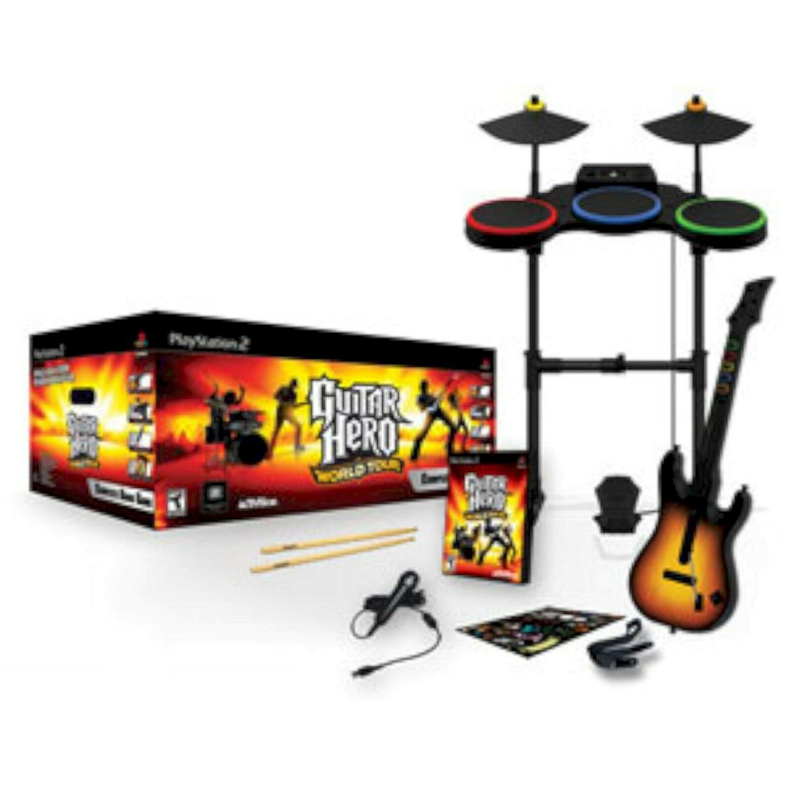playstation 2 ps2 guitar hero world tour band kit set kit drums guitar game mic ebay. Black Bedroom Furniture Sets. Home Design Ideas