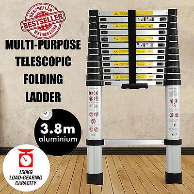 12.5FT/3.8M Multi-Purpose Aluminium Telescopic Ladder Foldable Garden Ladders UK