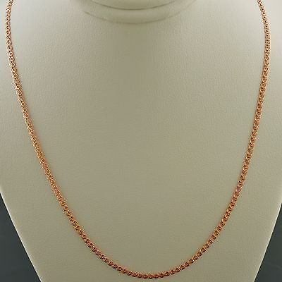 10K Rose Gold 18 Inch 2 0Mm Interlink  Love  Chain Necklace Free Shipping