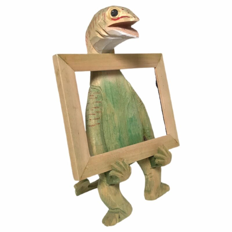 Wood Dinosaur Lizard Photo Frame (No Glass) Whimsical Handcrafted Wooden Animal