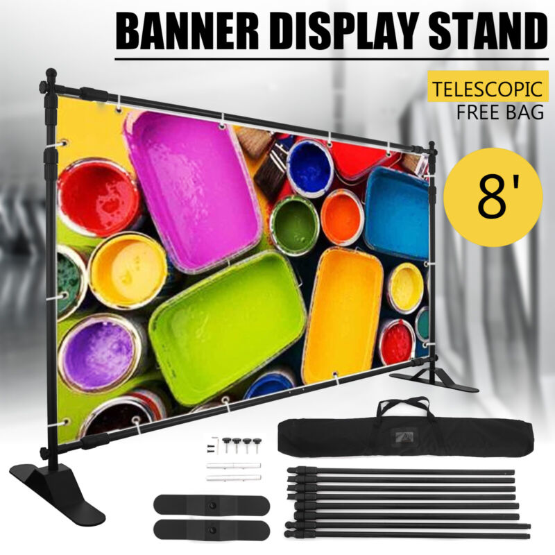 Step and Repeat Display Backdrop Banner Stand Adjustable Telescopic Trade Show