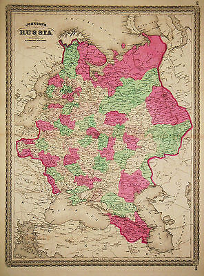 1867 Genuine Antique Hand Colored Map of Russia in Europe. Johnson
