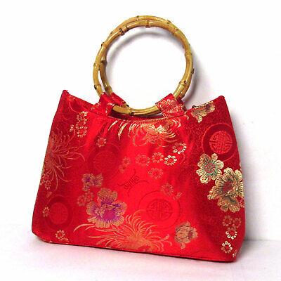 HANDMADE RED FLORAL SILK BROCADE BAMBOO BAG Brocade Red Bag